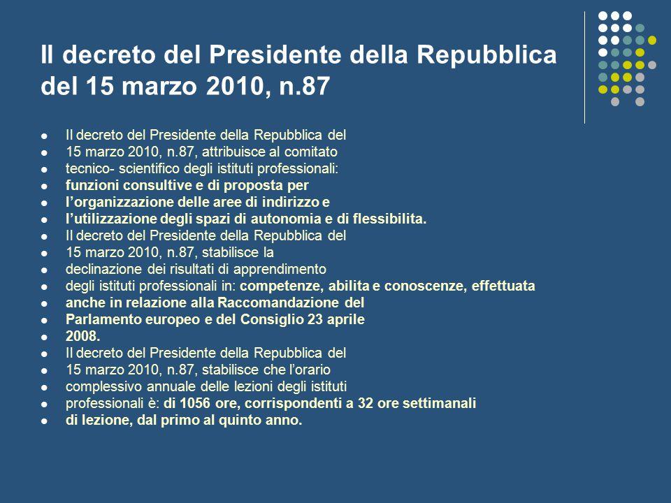 Il decreto del Presidente della Repubblica del 15 marzo 2010, n.87 Il decreto del Presidente della Repubblica del 15 marzo 2010, n.87, attribuisce al
