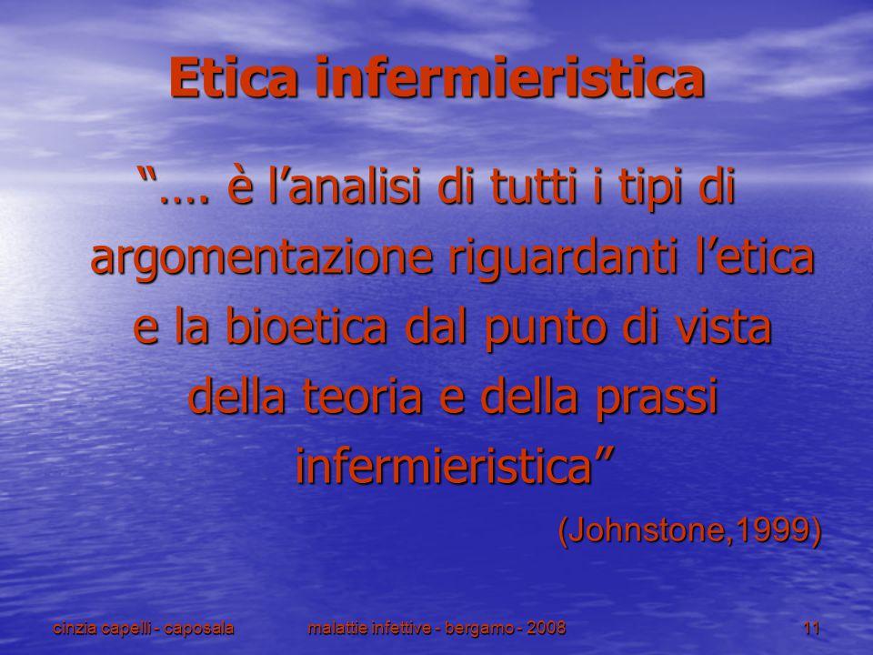 """cinzia capelli - caposalamalattie infettive - bergamo - 200811 Etica infermieristica """"…. è l'analisi di tutti i tipi di argomentazione riguardanti l'e"""