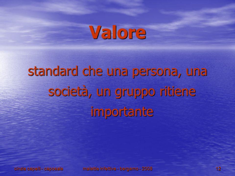 cinzia capelli - caposalamalattie infettive - bergamo - 200812 Valore standard che una persona, una società, un gruppo ritiene importante
