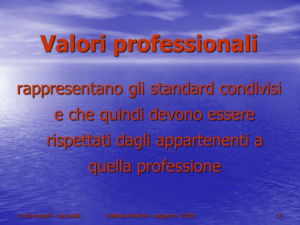 cinzia capelli - caposalamalattie infettive - bergamo - 200813 Valori professionali rappresentano gli standard condivisi e che quindi devono essere ri