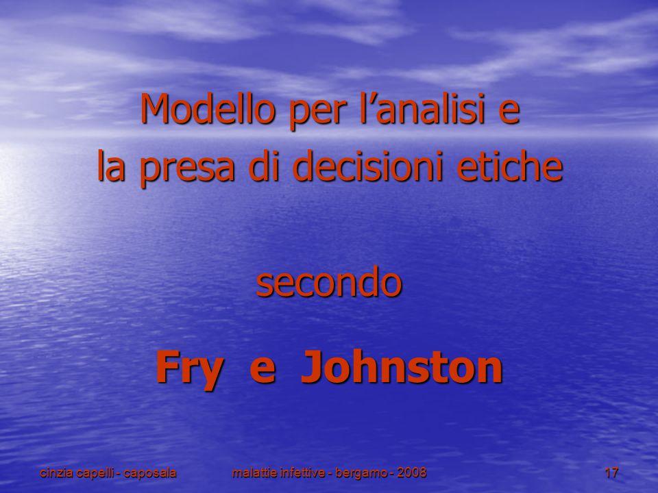 cinzia capelli - caposalamalattie infettive - bergamo - 200817 Modello per l'analisi e la presa di decisioni etiche secondo Fry e Johnston