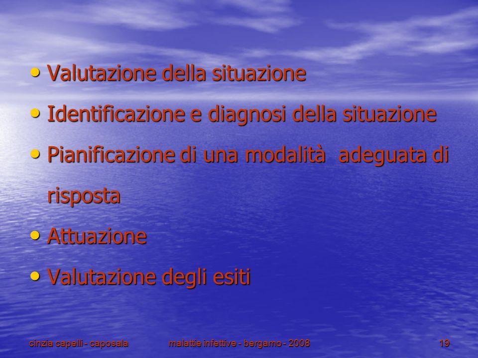 cinzia capelli - caposalamalattie infettive - bergamo - 200819 Valutazione della situazione Valutazione della situazione Identificazione e diagnosi de