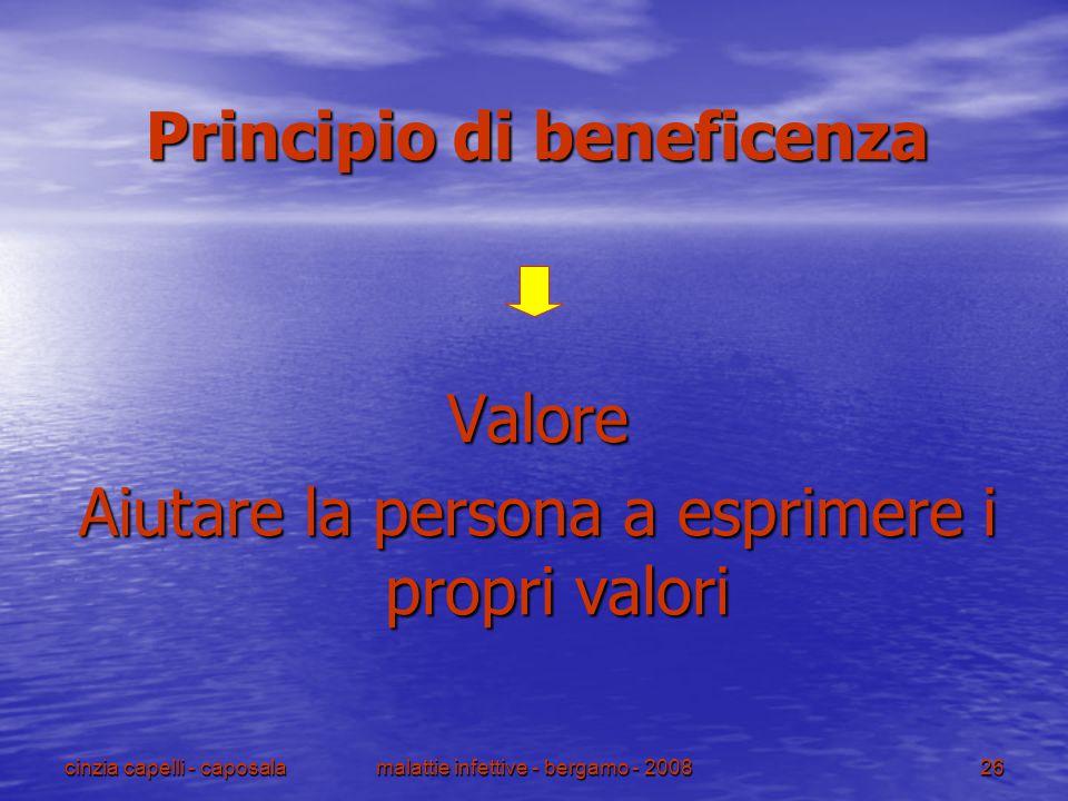 cinzia capelli - caposalamalattie infettive - bergamo - 200826 Principio di beneficenza Valore Aiutare la persona a esprimere i propri valori