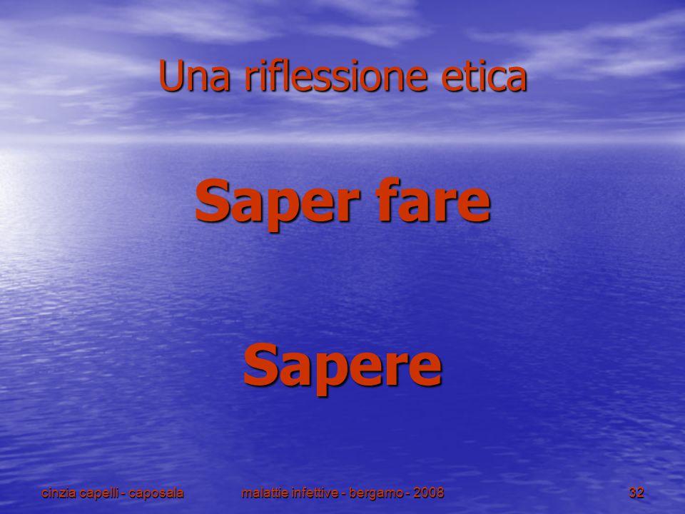 cinzia capelli - caposalamalattie infettive - bergamo - 200832 Una riflessione etica Saper fare Sapere