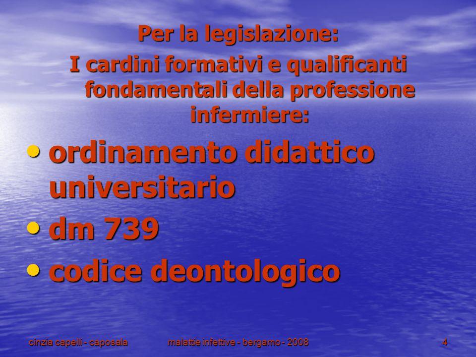 cinzia capelli - caposalamalattie infettive - bergamo - 20084 Per la legislazione: I cardini formativi e qualificanti fondamentali della professione i