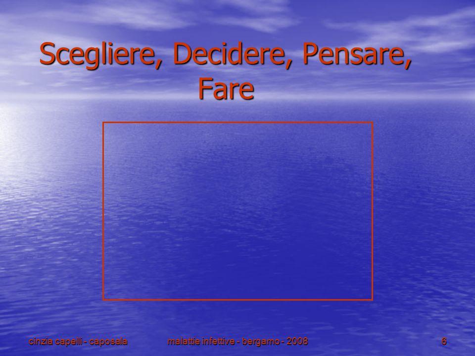 malattie infettive - bergamo - 2008 6 cinzia capelli - caposala Scegliere, Decidere, Pensare, Fare