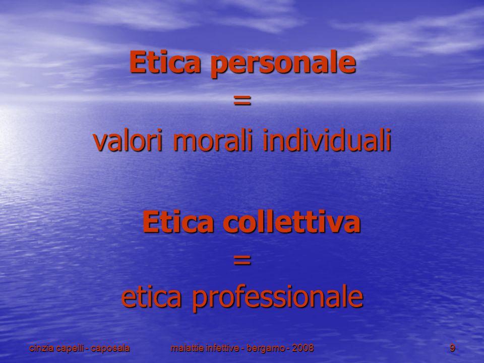 cinzia capelli - caposalamalattie infettive - bergamo - 200810 Etica personale : valori morali individuali Etica professionale: insieme di standard e comportamenti concordati descritti dal codice deontologico di una professione