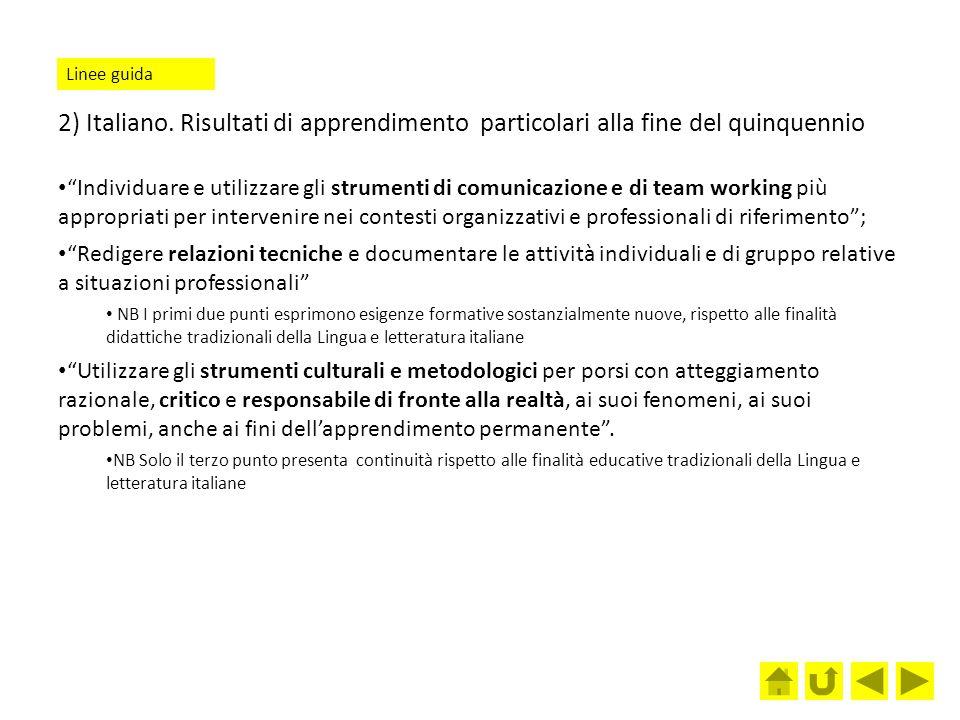 """2) Italiano. Risultati di apprendimento particolari alla fine del quinquennio """"Individuare e utilizzare gli strumenti di comunicazione e di team worki"""