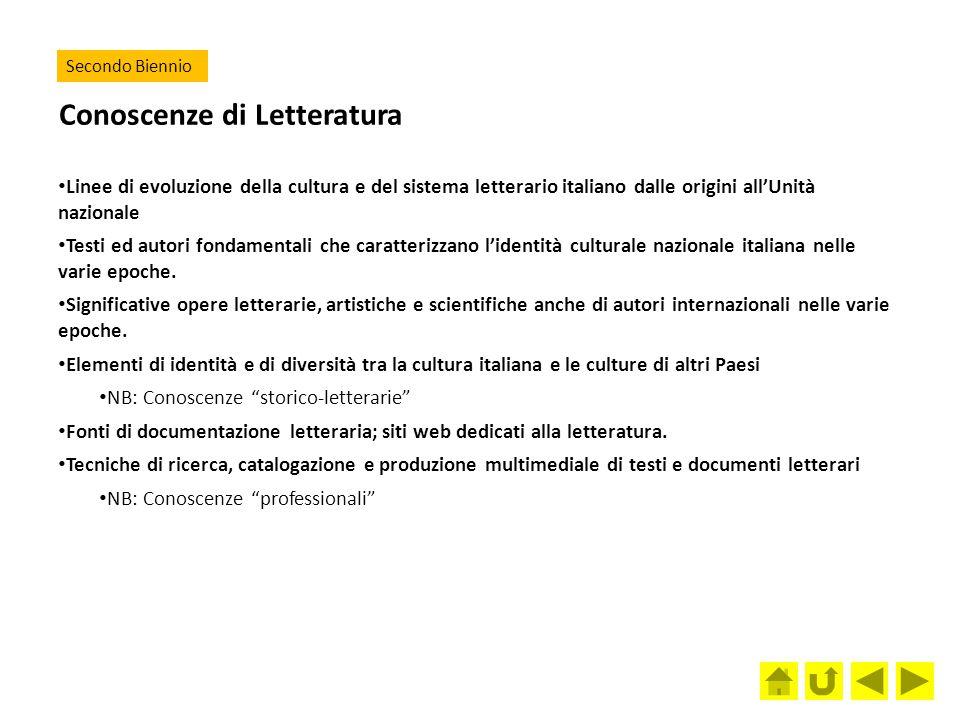 Conoscenze di Letteratura Linee di evoluzione della cultura e del sistema letterario italiano dalle origini all'Unità nazionale Testi ed autori fondam