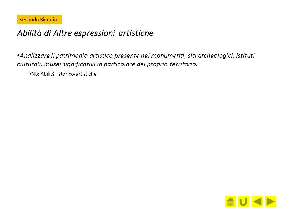 Abilità di Altre espressioni artistiche Analizzare il patrimonio artistico presente nei monumenti, siti archeologici, istituti culturali, musei signif