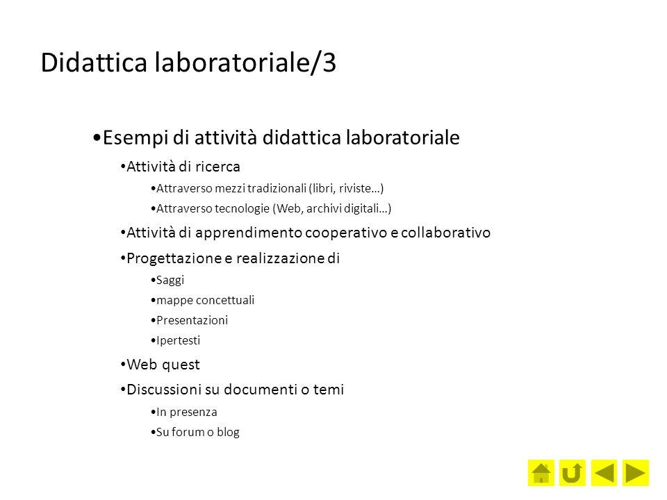 Didattica laboratoriale/3 Esempi di attività didattica laboratoriale Attività di ricerca Attraverso mezzi tradizionali (libri, riviste…) Attraverso te