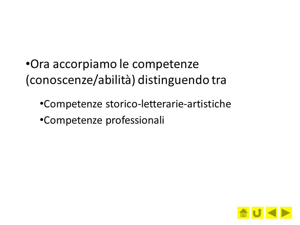 Ora accorpiamo le competenze (conoscenze/abilità) distinguendo tra Competenze storico-letterarie-artistiche Competenze professionali