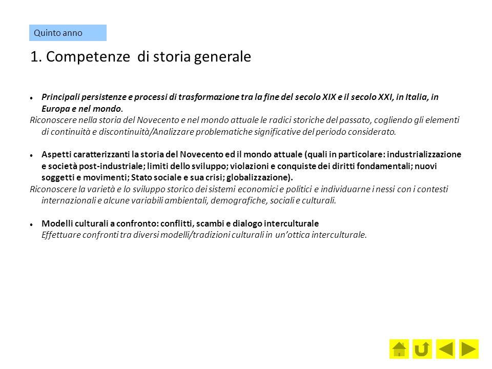 1. Competenze di storia generale Principali persistenze e processi di trasformazione tra la fine del secolo XIX e il secolo XXI, in Italia, in Europa