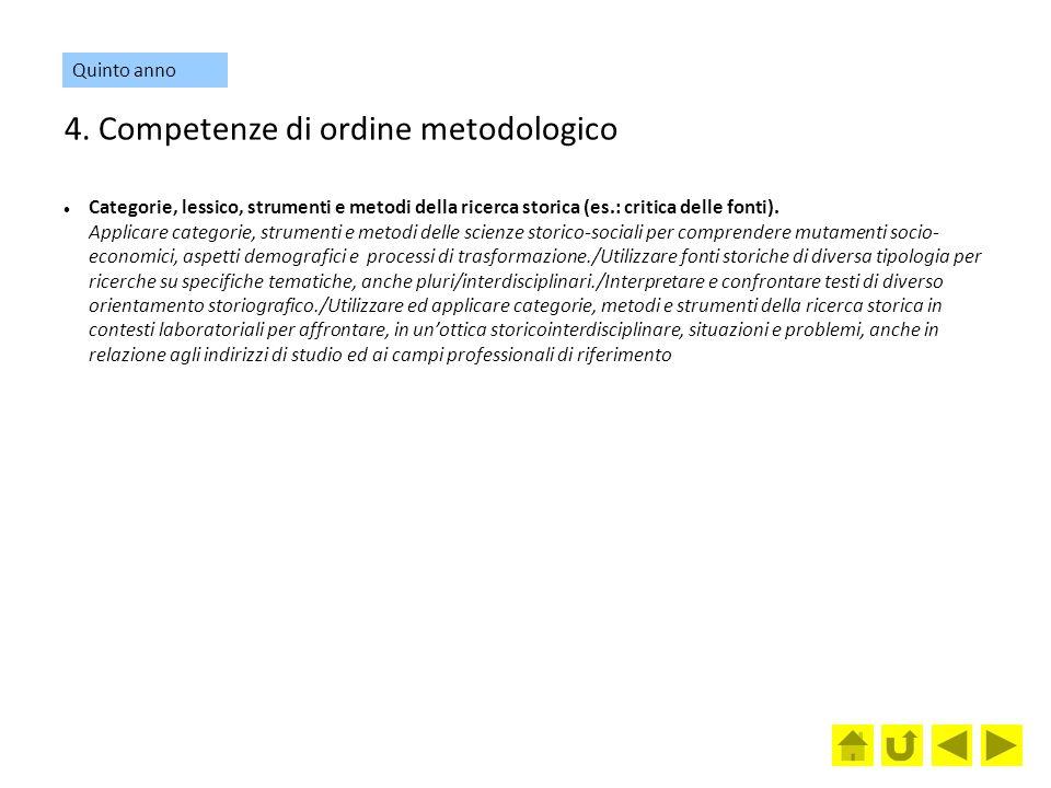 4. Competenze di ordine metodologico Categorie, lessico, strumenti e metodi della ricerca storica (es.: critica delle fonti). Applicare categorie, str