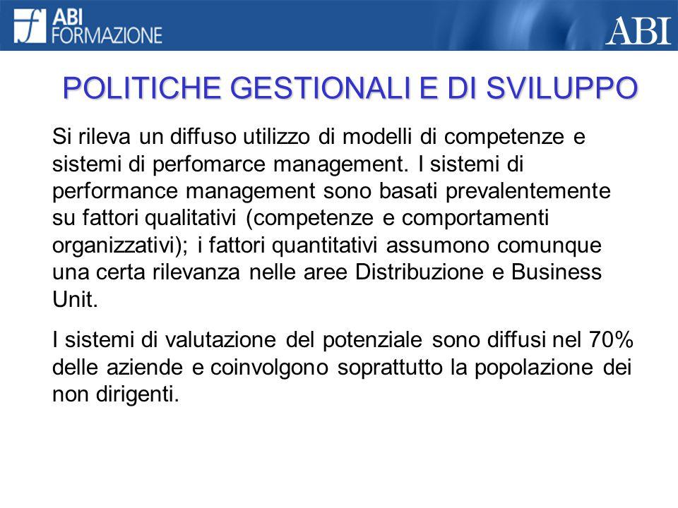 POLITICHE GESTIONALI E DI SVILUPPO Si rileva un diffuso utilizzo di modelli di competenze e sistemi di perfomarce management. I sistemi di performance