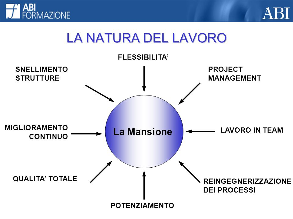 LA NATURA DEL LAVORO La Mansione FLESSIBILITA' SNELLIMENTO STRUTTURE MIGLIORAMENTO CONTINUO QUALITA' TOTALE POTENZIAMENTO PROJECT MANAGEMENT LAVORO IN