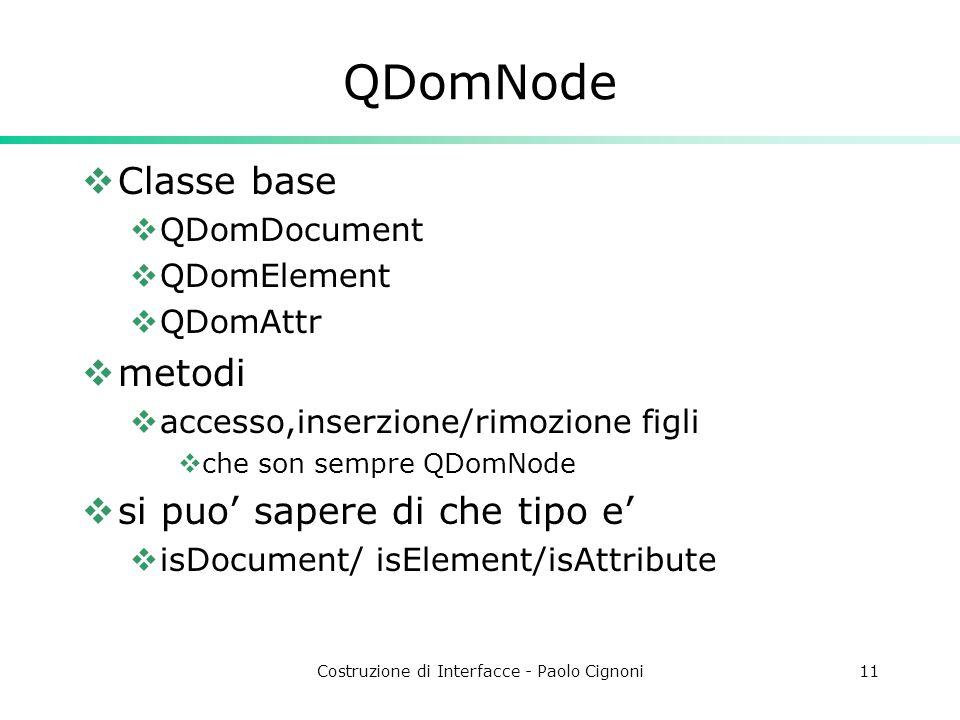 Costruzione di Interfacce - Paolo Cignoni11 QDomNode  Classe base  QDomDocument  QDomElement  QDomAttr  metodi  accesso,inserzione/rimozione figli  che son sempre QDomNode  si puo' sapere di che tipo e'  isDocument/ isElement/isAttribute
