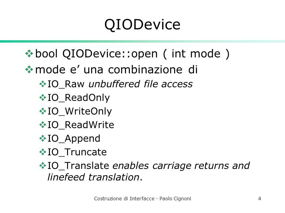 Costruzione di Interfacce - Paolo Cignoni5 Specializzazioni QIODevice  Qbuffer  buffer in memoria di char  QSocket e QSocketDevice  per l'accesso in rete.