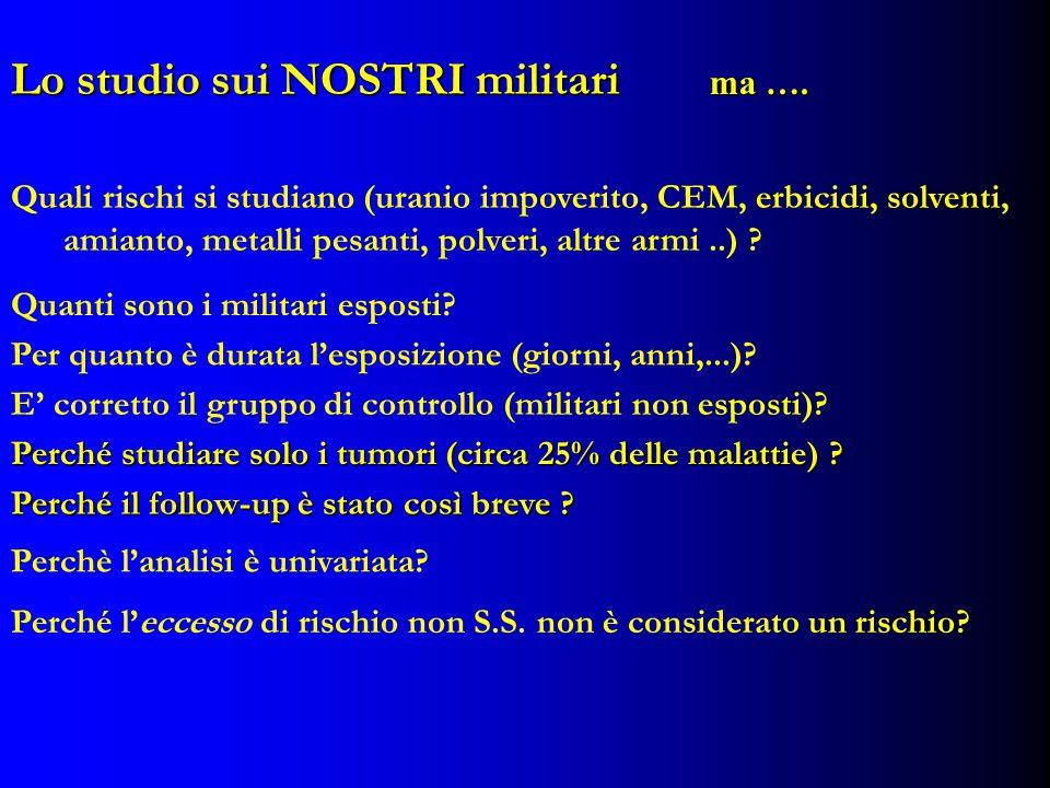 Lo studio sui NOSTRI militari Quali rischi si studiano (uranio impoverito, CEM, erbicidi, solventi, amianto, metalli pesanti, polveri, altre armi..) .
