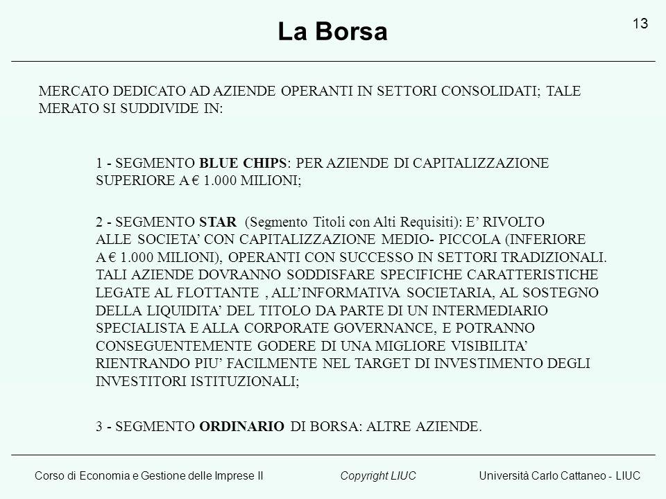 Corso di Economia e Gestione delle Imprese IIUniversità Carlo Cattaneo - LIUCCopyright LIUC 13 MERCATO DEDICATO AD AZIENDE OPERANTI IN SETTORI CONSOLIDATI; TALE MERATO SI SUDDIVIDE IN: 1 - SEGMENTO BLUE CHIPS: PER AZIENDE DI CAPITALIZZAZIONE SUPERIORE A € 1.000 MILIONI; 2 - SEGMENTO STAR (Segmento Titoli con Alti Requisiti): E' RIVOLTO ALLE SOCIETA' CON CAPITALIZZAZIONE MEDIO- PICCOLA (INFERIORE A € 1.000 MILIONI), OPERANTI CON SUCCESSO IN SETTORI TRADIZIONALI.