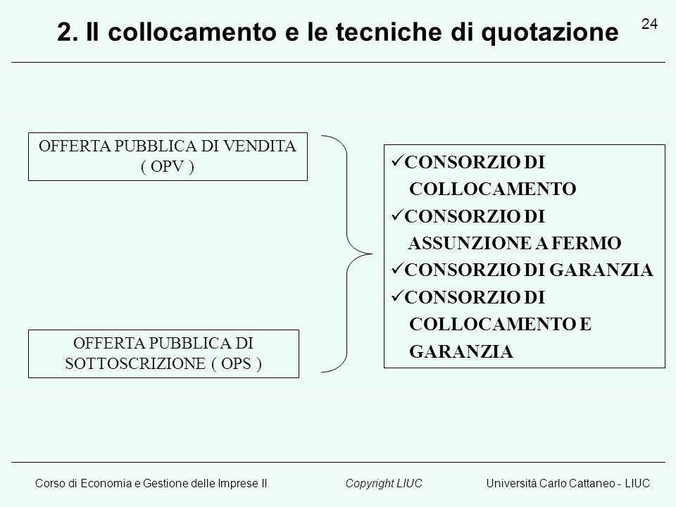 Corso di Economia e Gestione delle Imprese IIUniversità Carlo Cattaneo - LIUCCopyright LIUC 24 OFFERTA PUBBLICA DI VENDITA ( OPV ) OFFERTA PUBBLICA DI SOTTOSCRIZIONE ( OPS ) CONSORZIO DI COLLOCAMENTO CONSORZIO DI ASSUNZIONE A FERMO CONSORZIO DI GARANZIA CONSORZIO DI COLLOCAMENTO E GARANZIA 2.