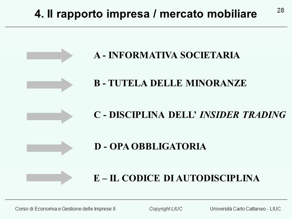Corso di Economia e Gestione delle Imprese IIUniversità Carlo Cattaneo - LIUCCopyright LIUC 28 A - INFORMATIVA SOCIETARIA B - TUTELA DELLE MINORANZE C - DISCIPLINA DELL' INSIDER TRADING D - OPA OBBLIGATORIA 4.