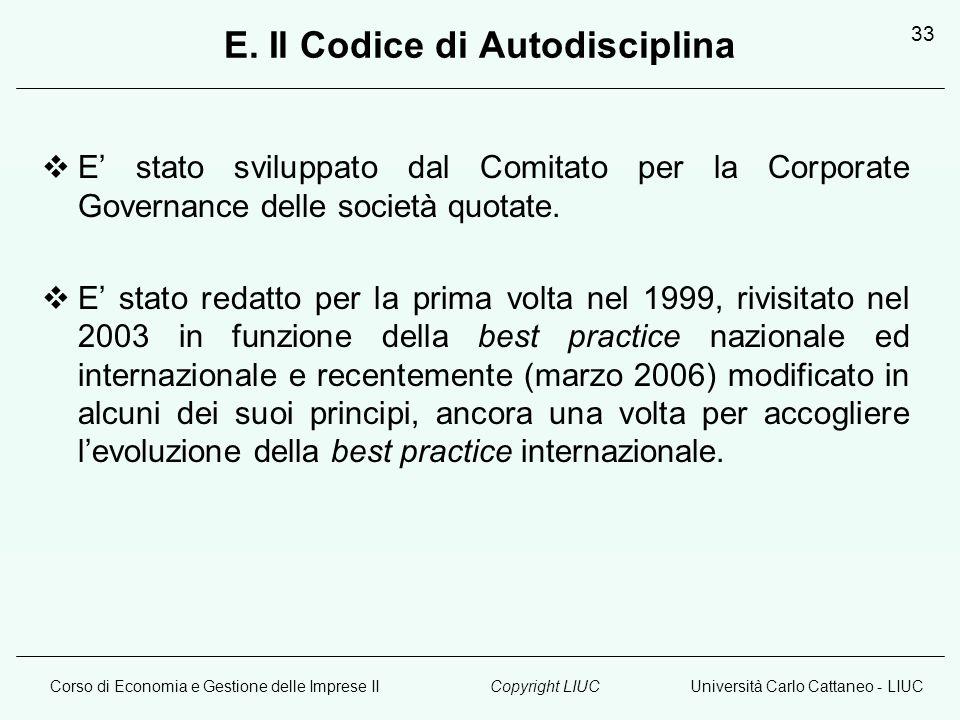 Corso di Economia e Gestione delle Imprese IIUniversità Carlo Cattaneo - LIUCCopyright LIUC 33 E.