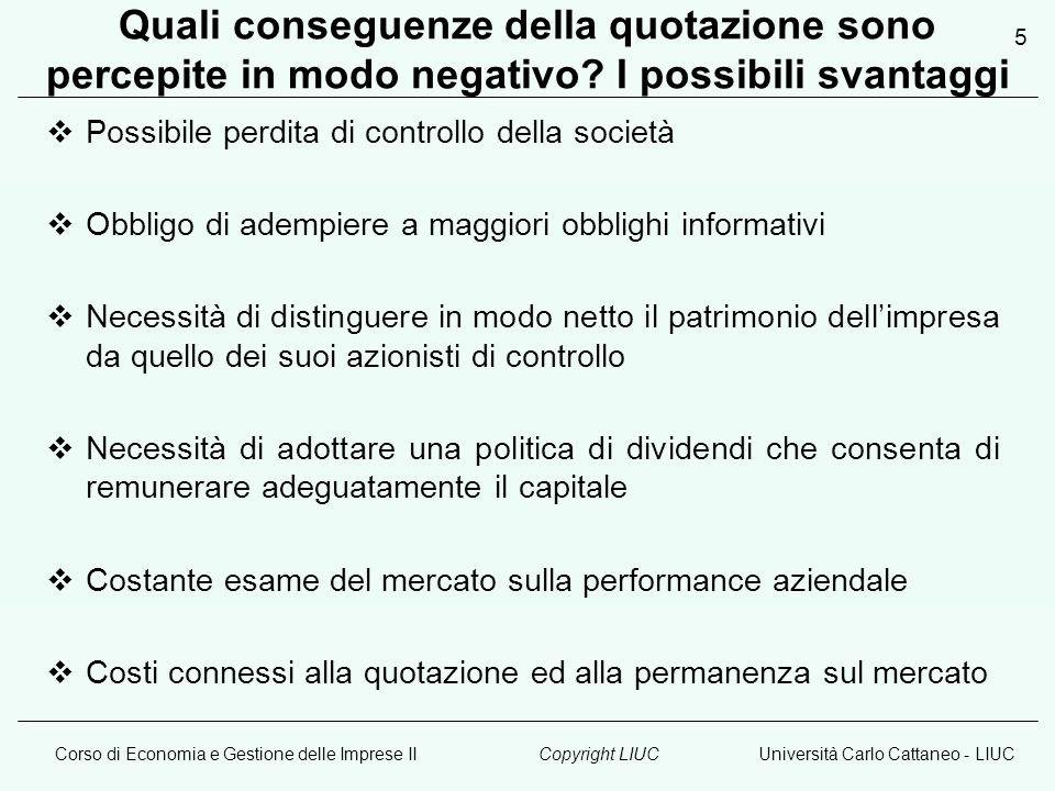 Corso di Economia e Gestione delle Imprese IIUniversità Carlo Cattaneo - LIUCCopyright LIUC 5 Quali conseguenze della quotazione sono percepite in modo negativo.