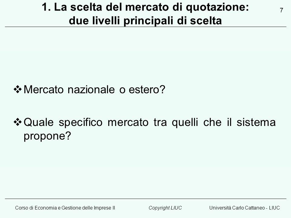 Corso di Economia e Gestione delle Imprese IIUniversità Carlo Cattaneo - LIUCCopyright LIUC 7 1.