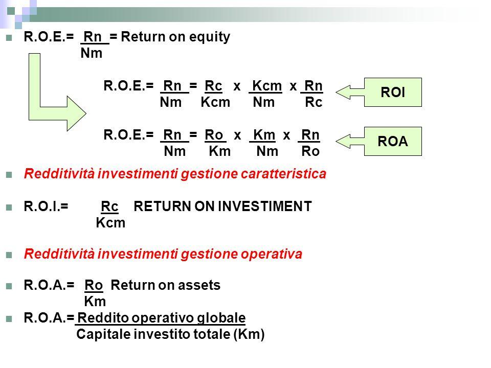 R.O.E.= Rn = Return on equity Nm R.O.E.= Rn = Rc x Kcm x Rn Nm Kcm Nm Rc R.O.E.= Rn = Ro x Km x Rn Nm Km Nm Ro Redditività investimenti gestione carat