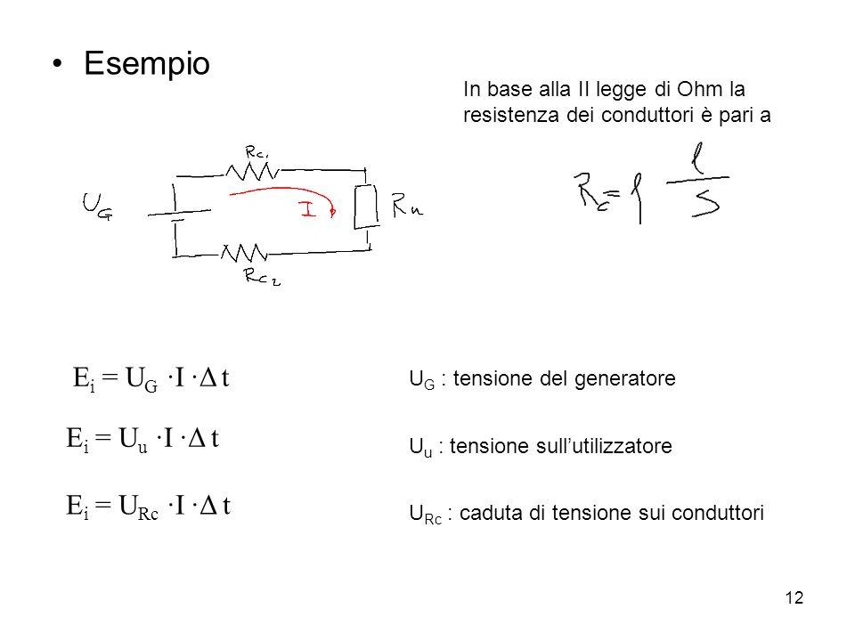 12 Esempio E i = U G ∙I ∙Δ t E i = U u ∙I ∙Δ t E i = U Rc ∙I ∙Δ t U G : tensione del generatore U u : tensione sull'utilizzatore U Rc : caduta di tens