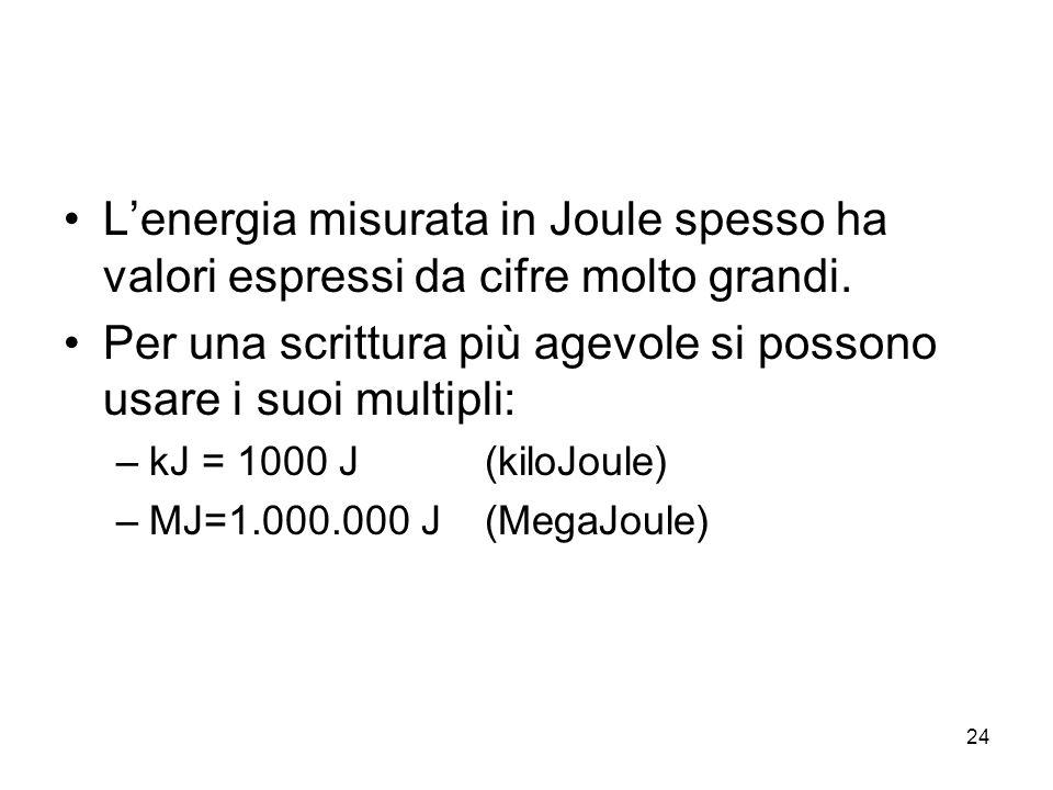 24 L'energia misurata in Joule spesso ha valori espressi da cifre molto grandi. Per una scrittura più agevole si possono usare i suoi multipli: –kJ =