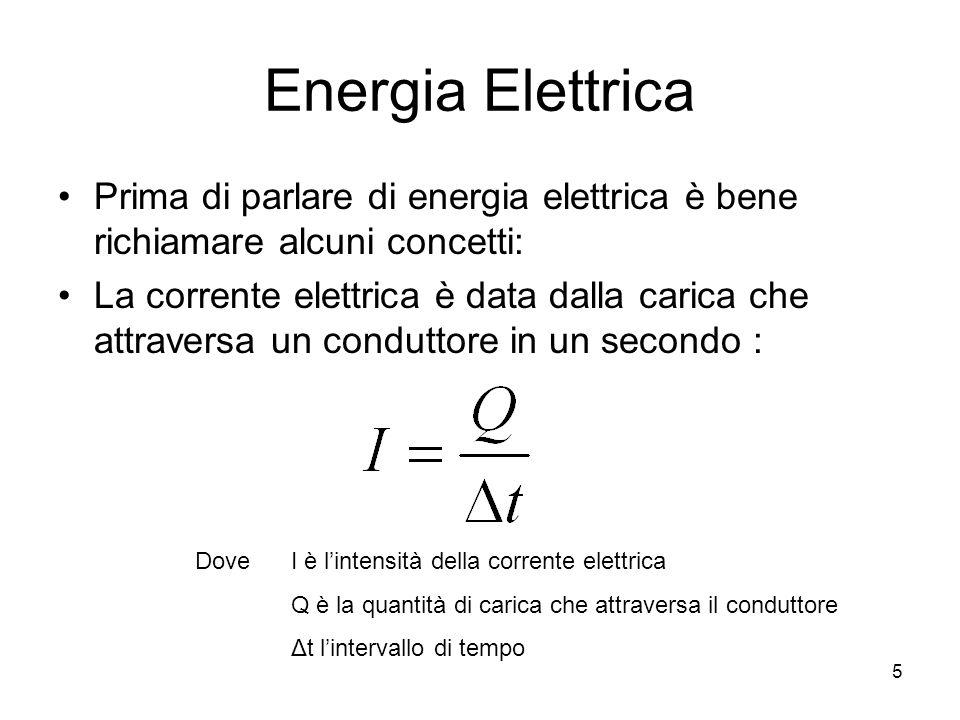 5 Energia Elettrica Prima di parlare di energia elettrica è bene richiamare alcuni concetti: La corrente elettrica è data dalla carica che attraversa