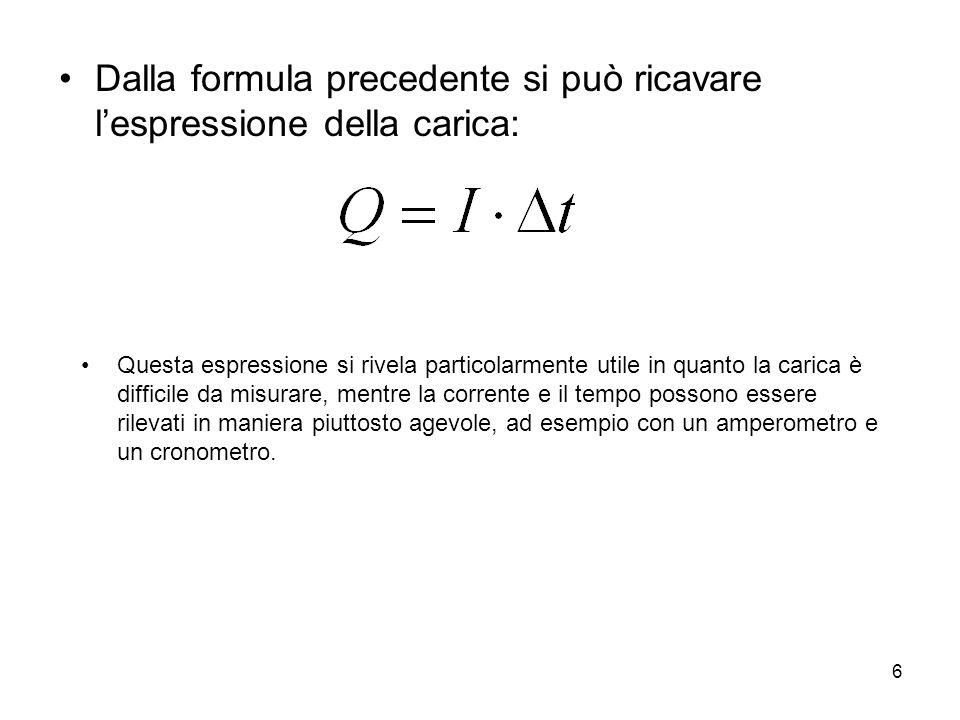 6 Dalla formula precedente si può ricavare l'espressione della carica: Questa espressione si rivela particolarmente utile in quanto la carica è diffic