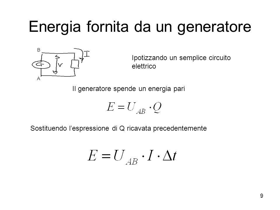 9 Energia fornita da un generatore Ipotizzando un semplice circuito elettrico A B Il generatore spende un energia pari Sostituendo l'espressione di Q