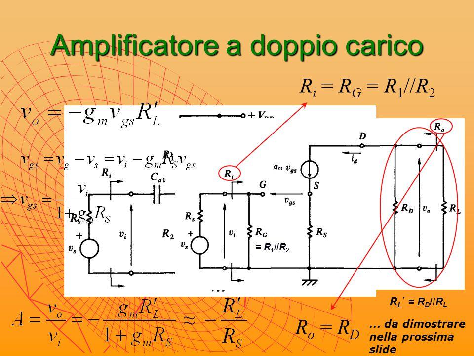 Amplificatore a doppio carico: resistenza d'uscita gmgm ixix vxvx + v gs = v g - v s = 0 – R S ∙(g m v gs ) v gs = 0 R o = R D