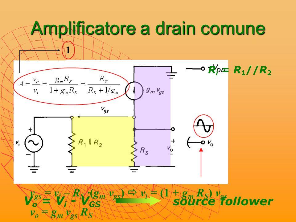 Amplificatore a drain comune: resistenza d'uscita ? vivi vovo RSRS 1/g m applicando Thevenin…