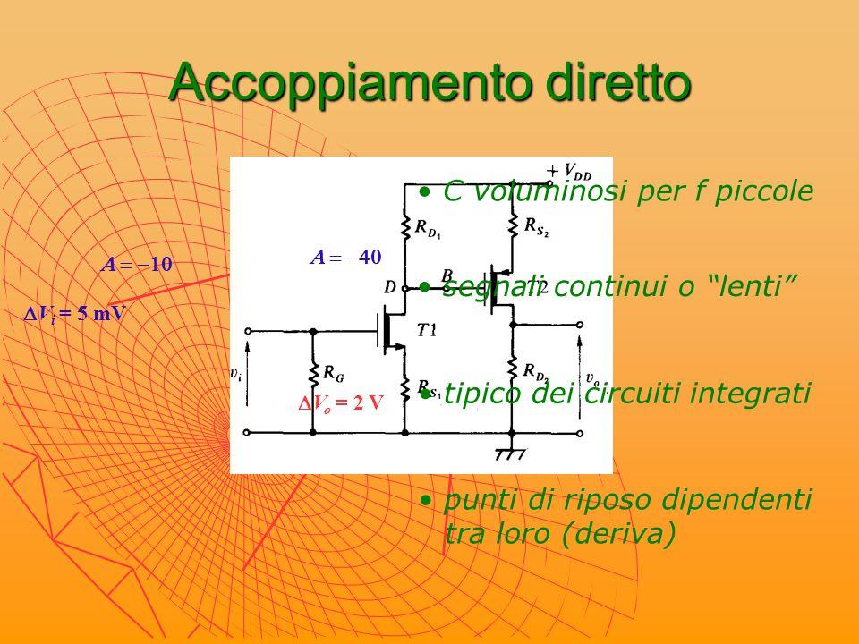 """Accoppiamento diretto segnali continui o """"lenti"""" C voluminosi per f piccole punti di riposo dipendenti tra loro (deriva) tipico dei circuiti integrati"""