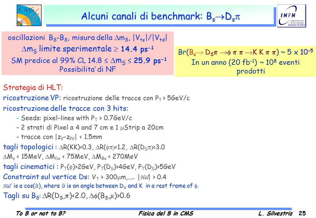 To B or not to B?Fisica del B in CMSL. Silvestris 25 Alcuni canali di benchmark: B s  D s  Br(B s  D S     K K   ) ~ 5 x 10 -5 In un anno