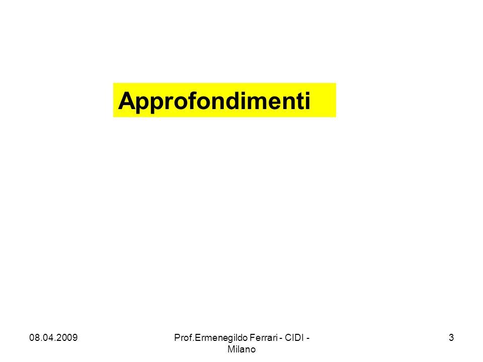 IN Costituiscono IN valorizzazione Individuazione e valorizzazione di: Bisogni/preconoscenze/prerequisiti Motivazione (rinforzo) Obiettivi (focalizzazione) 08.04.20094Prof.Ermenegildo Ferrari - CIDI - Milano