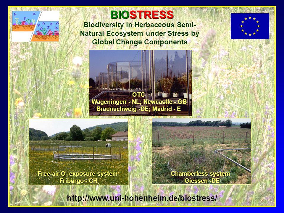 Chamberless system Giessen -DE Giessen -DE Free-air O 3 exposure system Friburgo - CH OTC Wageningen - NL; Newcastle - GB Wageningen - NL; Newcastle -
