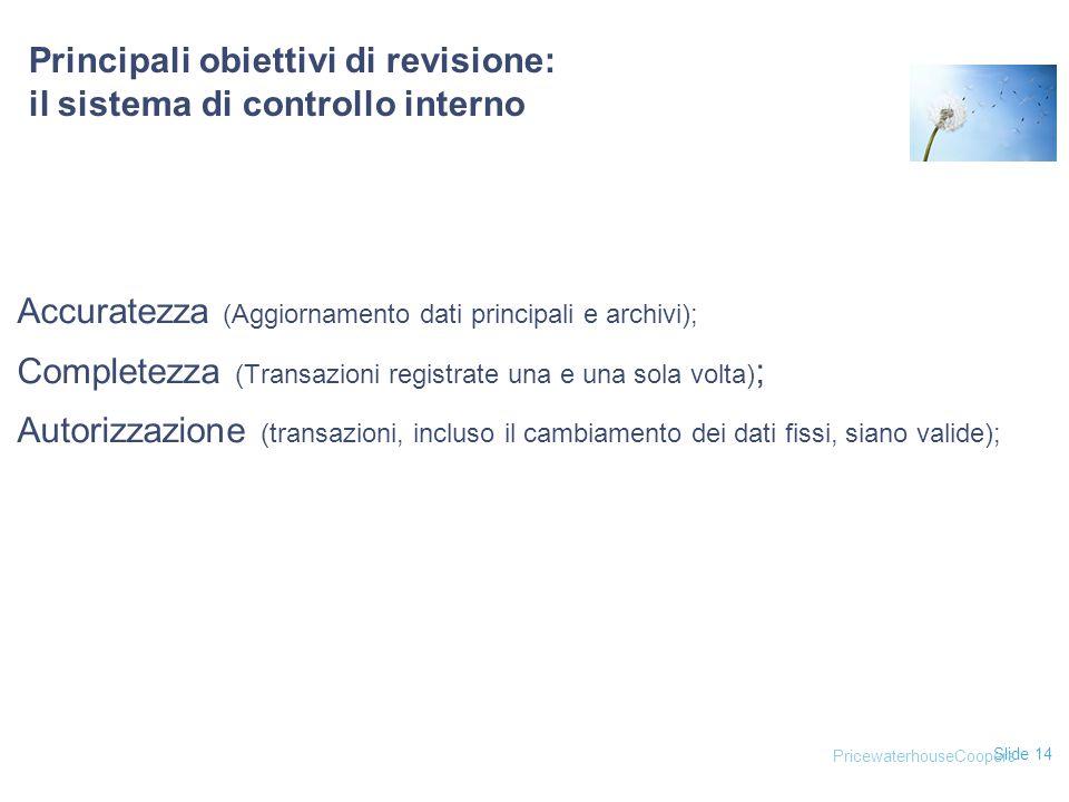 Slide 14 Principali obiettivi di revisione: il sistema di controllo interno Accuratezza (Aggiornamento dati principali e archivi); Completezza (Transa