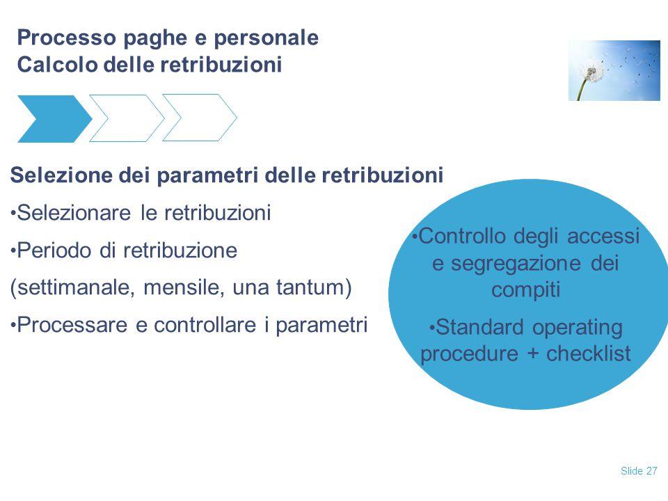 Slide 27 Processo paghe e personale Calcolo delle retribuzioni Selezione dei parametri delle retribuzioni Selezionare le retribuzioni Periodo di retri