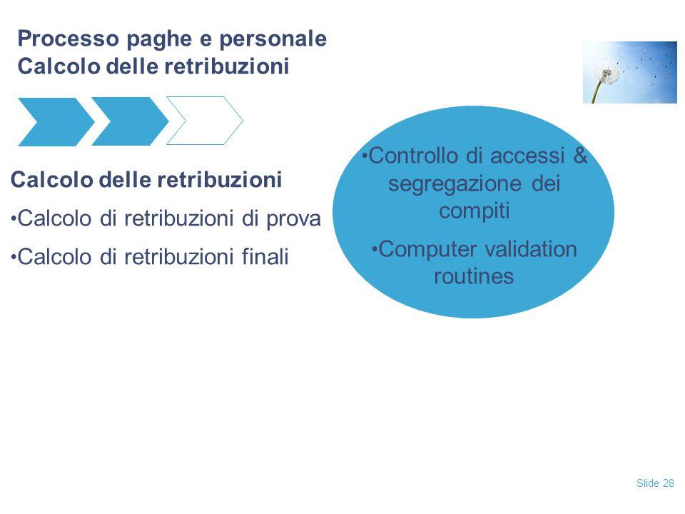 Slide 28 Processo paghe e personale Calcolo delle retribuzioni Calcolo delle retribuzioni Calcolo di retribuzioni di prova Calcolo di retribuzioni fin