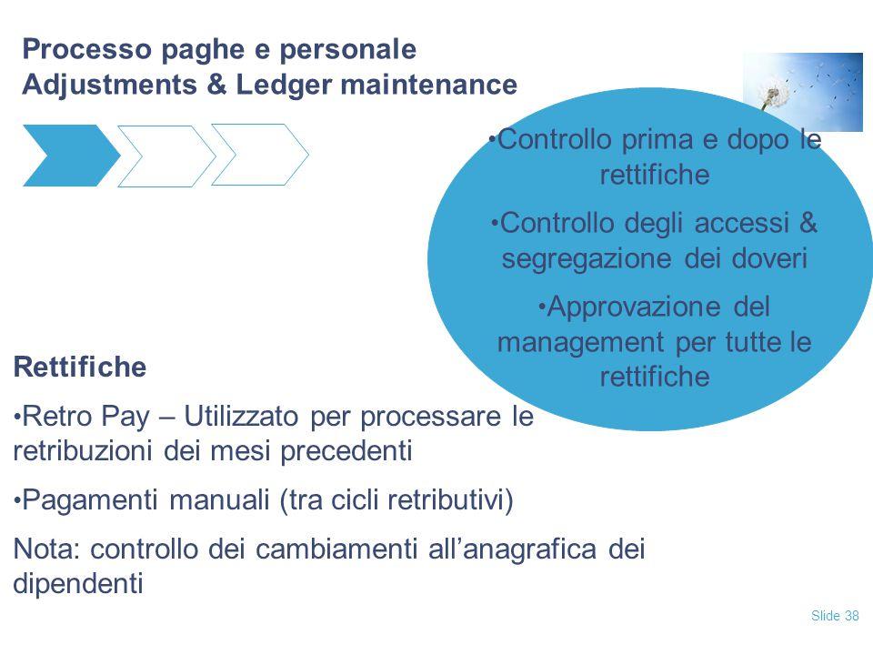 Slide 38 Processo paghe e personale Adjustments & Ledger maintenance Rettifiche Retro Pay – Utilizzato per processare le retribuzioni dei mesi precede