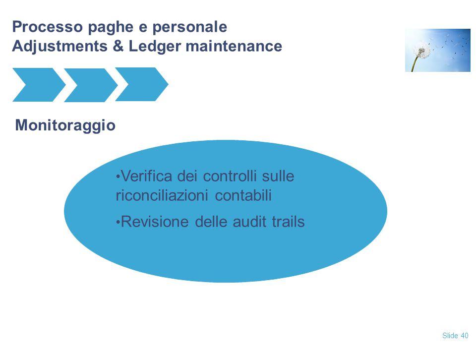 Slide 40 Processo paghe e personale Adjustments & Ledger maintenance Monitoraggio Verifica dei controlli sulle riconciliazioni contabili Revisione del