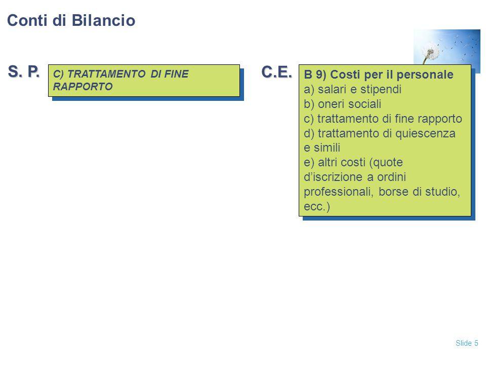 Slide 5 C) TRATTAMENTO DI FINE RAPPORTO C) TRATTAMENTO DI FINE RAPPORTO B 9) Costi per il personale a) salari e stipendi b) oneri sociali c) trattamen