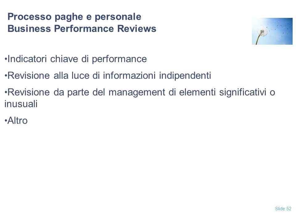 Slide 52 Processo paghe e personale Business Performance Reviews Indicatori chiave di performance Revisione alla luce di informazioni indipendenti Rev