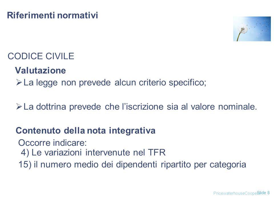 Slide 8 CODICE CIVILE Valutazione  La legge non prevede alcun criterio specifico;  La dottrina prevede che l'iscrizione sia al valore nominale. Cont