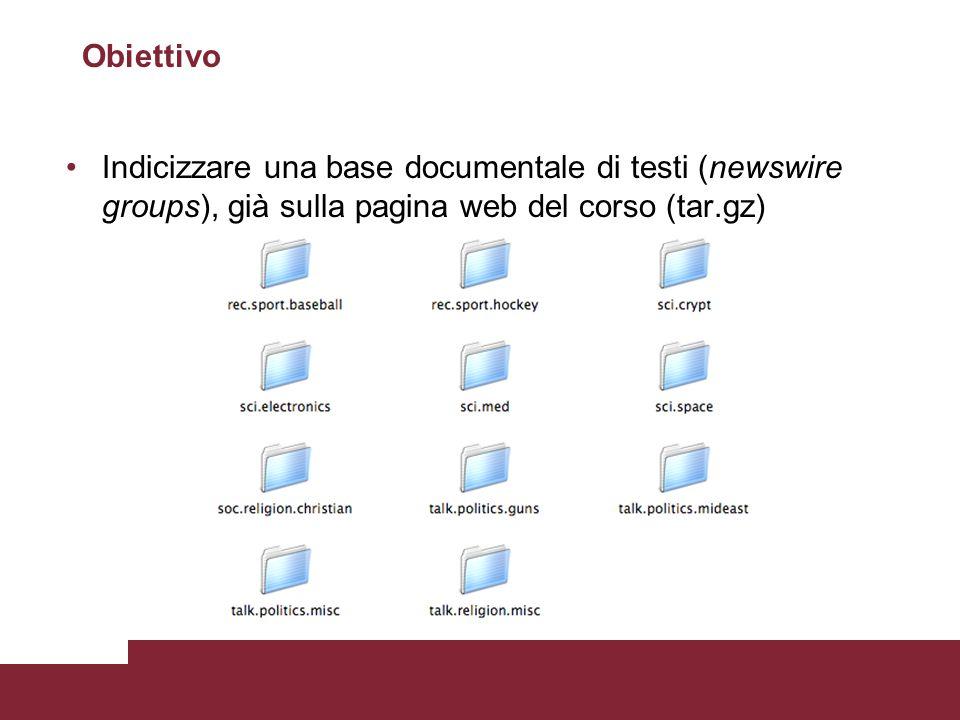 Obiettivo Indicizzare una base documentale di testi (newswire groups), già sulla pagina web del corso (tar.gz)